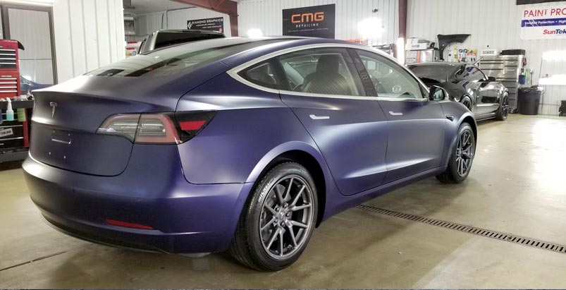 Tesla Model 3 after FULL matte wrap done with XPEL's Stealth then topped with Ceramic Pro