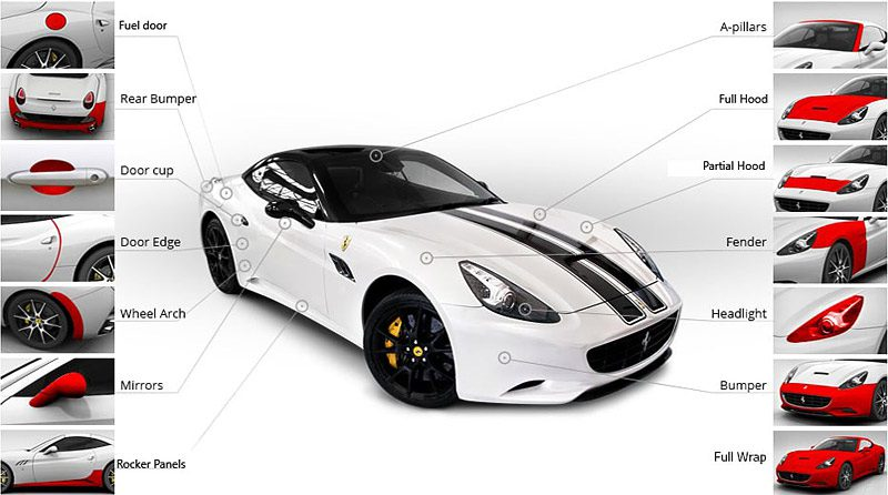 Automotive paint protection film coverage areas, available at CMG Detailing in WI