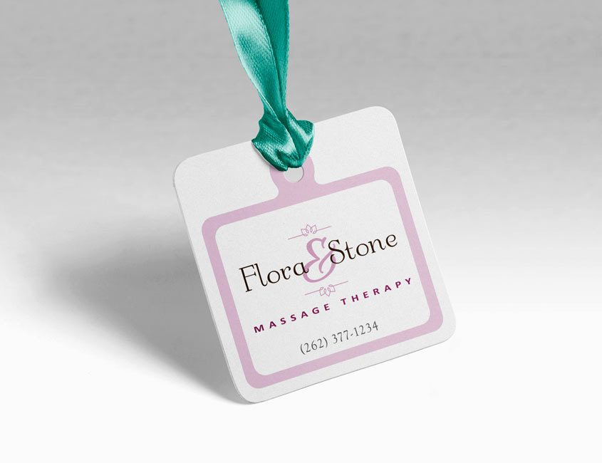 Massage therapy logo on gift tag