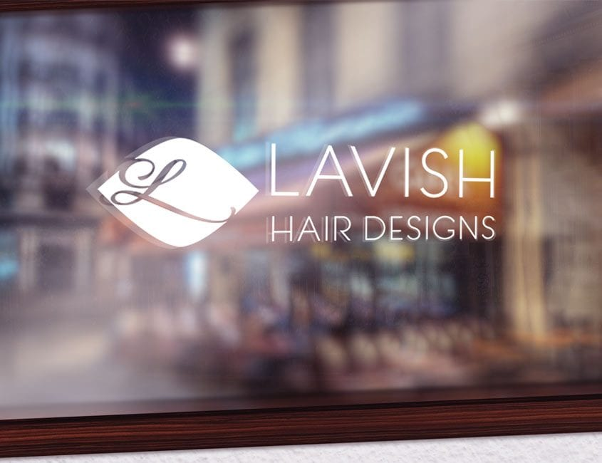 Logo design on glass window
