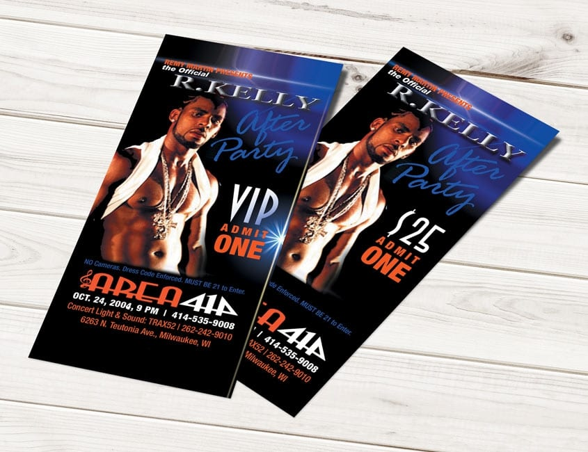 R Kelly Concert Ticket Design