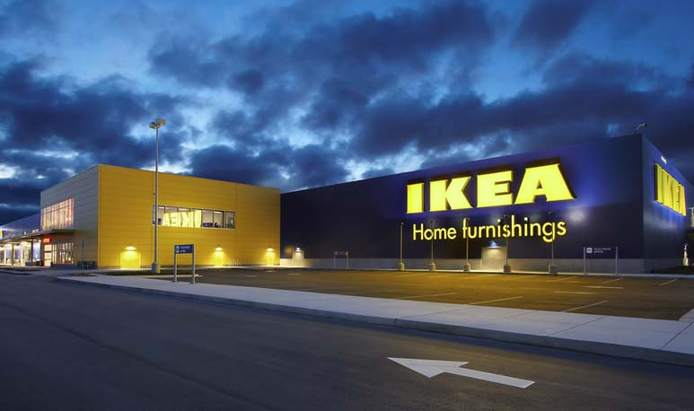 Ikea logo on building