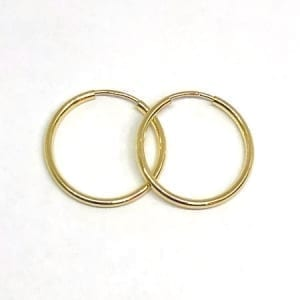 Hoop Earring Plain 2mm 14K Yellow Gold Wire Lock