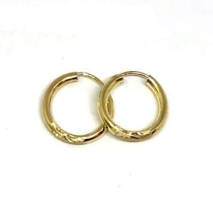 Diamond Cut Hoop Earrings 2MM 14K Yellow Gold Wire Lock