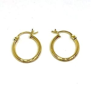 Hoop Earring Diamond Cut 2MM 14k Yellow Gold Latch Lock