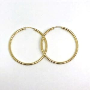 Plain Hoop Earrings 2.5MM 14K Yellow Gold Wire Lock