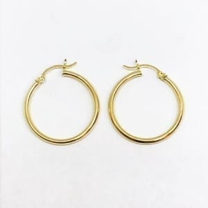 Hoop Earring Plain 2.5mm 14K Yellow Gold Latch Lock