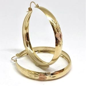 2 Tone Hoop Earring with Rose Heart & Beautiful Design on 14K Yellow Gold