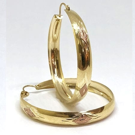 2 Tone Hoop Earring with Rose Square Design on 14K Yellow Gold