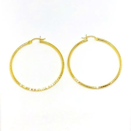 Hoop Earring Full Diamond Cut 2MM 14k Yellow Gold Latch Lock