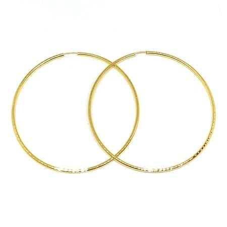 Full Diamond Cut Hoop Earrings 2.5MM 14K Yellow Gold Wire Lock