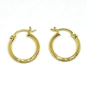 Hoop Earring Diamond Cut 2.5MM 14K Yellow Gold Latch Lock