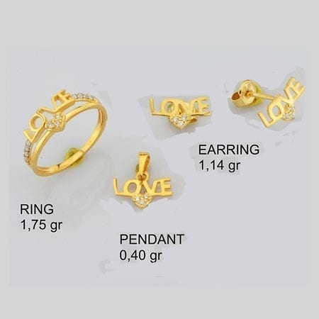 CZ Love with Heart Mini Set on 14k Yellow Gold