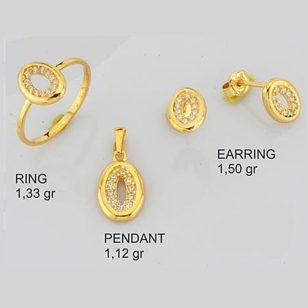 CZ Oval Mini Set on 14k Yellow Gold