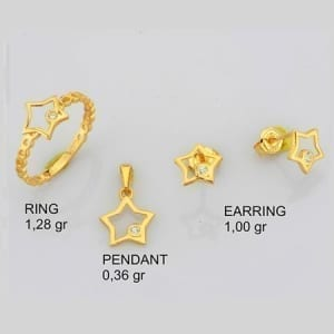 CZ Star Mini Set on 14k Yellow Gold