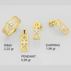 CZ Rectangle Two-Tone Flowers Mini Set on 14k Gold