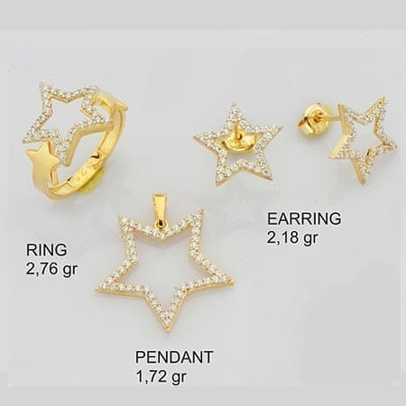 CZ Stars Mini Set on 14k Yellow Gold