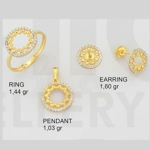 CZ Round Balls Mini Set on 14k Yellow Gold