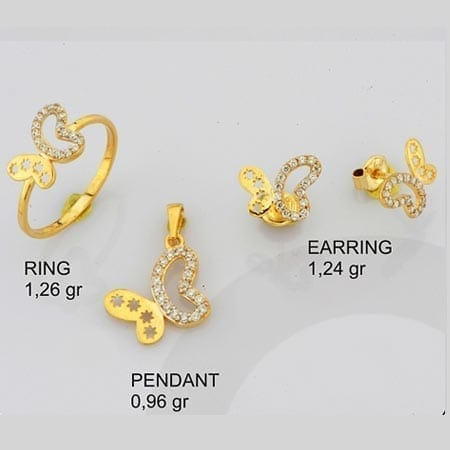 CZ Butterfly 2 Mini Set on 14k Yellow Gold