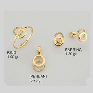 CZ 2 Rounds Mini Set on 14k Yellow Gold