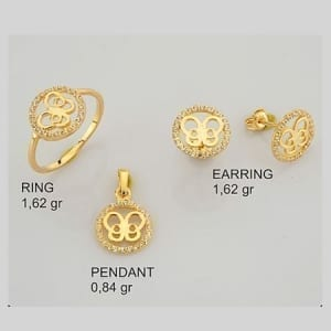 CZ Round Inside Butterfly Mini Set on 14k Yellow Gold
