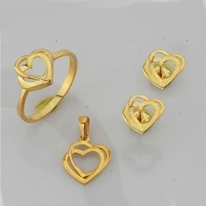 2 Hearts Mini Set on 14k Yellow Gold