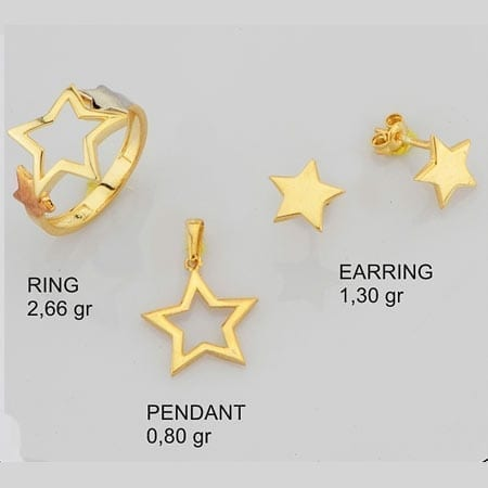 3 Tone Stars Mini Set on 14k Yellow Gold