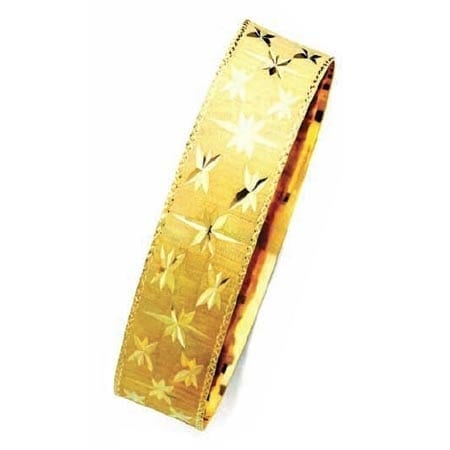 18MM Stars With Milgrain, High Quality Satin Finish Bangle 14K Yellow Gold