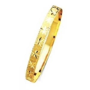 8MM Stars With Milgrain, High Quality Satin Finish Bangle 14K Yellow Gold