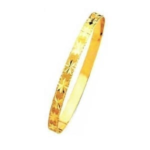 6MM Stars With Milgrain, High Quality Satin Finish Seven Days Bangles 14K Yellow Gold