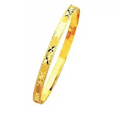 8MM 3x's With Milgrain, High Quality Satin Finish Bangle 14K Yellow Gold