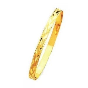 6MM Leaves With Milgrain, High Quality Satin Finish Seven Days Bangles 14K Yellow Gold