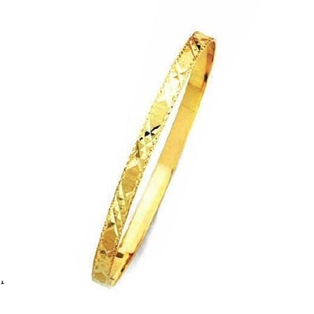 5MM 3x's  With Milgrain, High Quality Satin Finish Seven Days Bangles 14K Yellow Gold