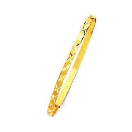 4MM X Design, High Quality Satin Finish Seven Days Bangles 14K Yellow Gold