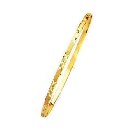 2MM 3x's Design, High Quality Satin Finish Seven Days Bangles 14K Yellow Gold