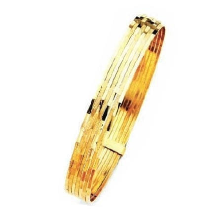9MM Modern Design, High Quality Satin Finish Seven Days Bangles With Bar 14K Yellow Gold