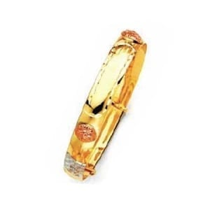Solid Three-Tone Stunning ID Adjustable Baby's Bangle 8MM 14K Gold