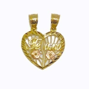 "2 Piece Of Hearts Written ""TE AMO"" With Rose Color Flowers Pendant 14K Yellow Gold"