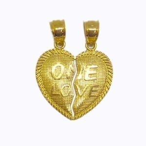 "2 Piece Of Hearts Written ""ONE LOVE"" Pendant 14K Yellow Gold"