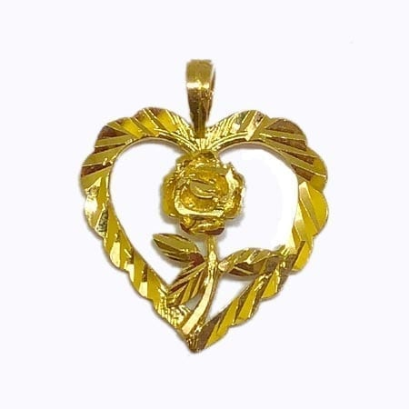 Heart With Rose Pendant 14K Yellow Gold