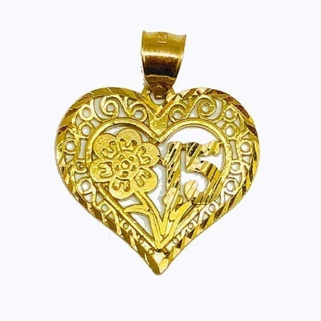 Heart With Flower & 15 Anos Pendant 14K Yellow Gold