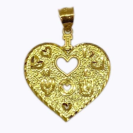 "Heart With Stunning Design "" I LOVE YOU"" & Around Mini Hearts Pendant 14K Yellow Gold"