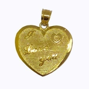 "Heart Written ""I LOVE YOU"" Pendant 14K Yellow Gold"