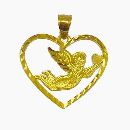Heart With Elegant Angel Pendant 14K Yellow Gold