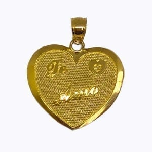 "Heart Written "" TE AMO"" Pendant 14K Yellow Gold"
