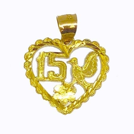 Heart With Dove & 15 Anos Pendant 14K Yellow Gold