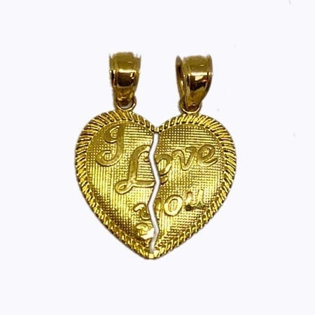 """2 Piece Of Hearts Written """"I LOVE YOU"""" Pendant 14K Yellow Gold"""