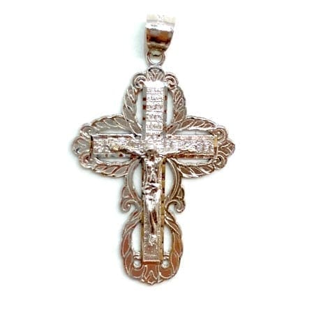 Classic Cross with Jesus Pendant 14K White Gold