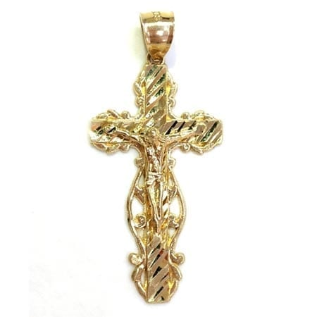 Modern Crucifix Pendant with Jesus Pendant 14K Yellow Gold