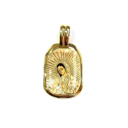 Regtangle Colored Virgin Mary (Made in Italy) Pendant 14K Yellow Gold